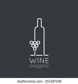 Bottle of wine vector icon.