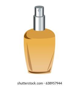Bottle of woman perfume on light background. Toned image.