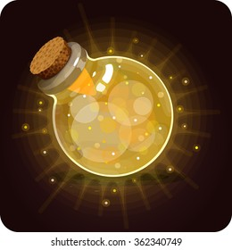 Bottle yellow shine. Game icon of magic elixir. Vector design for app user interface. Stamina, energy, velocity, speed, wisdom, agility, knowledge, intellect, sunlight, intelligence