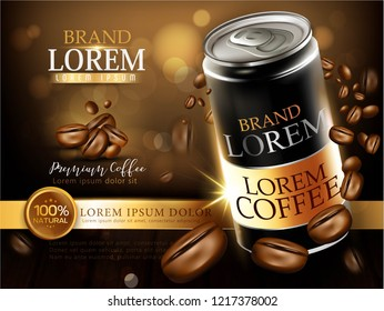 Bottled & Canned Coffee series, ads of premium black canned coffee with beans swirling around it in 3d illustration, wooden table and bokeh background