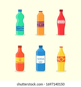 Bottled drink, vitamin juice, sparkling or natural water in tanks, plastic bottles. A set of soft drinks in plastic and aluminum packaging. Sparkling water with different flavors. Vector illustration.