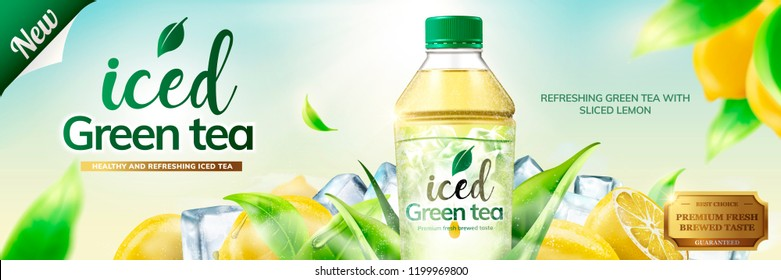 Bottled green tea banner ads with ice cubes and lemon fruit elements in 3d illustration