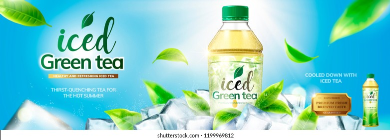 Bottled green tea banner ads with ice cubes elements in 3d illustration on blue sky background