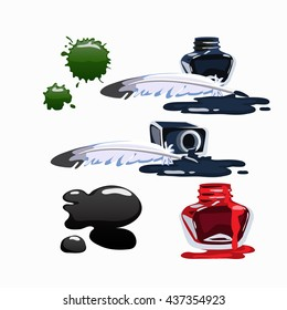 Bottled ink and fountain feather pen isolated on white background. Vector cartoon close-up illustration.