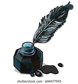 Bottled ink and fountain feather pen isolated on white background. Vintage set to create a manuscript. Vector cartoon close-up illustration.