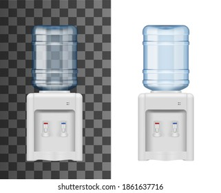 Bottled water dispenser or cooler realistic mockup. Office cooler machine with installed upside down polycarbonate bottle with purified and filtered water, cooling and heating dispensers 3d vector