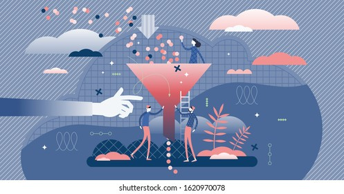 Bottleneck business management problem concept, flat tiny persons vector illustration. Stylized abstract funnel graphic with symbolic data filtering process. Deep blue color creative graphic elements