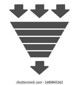 Bottleneck chart solid icon. Consumption pyramid, funnel diagram symbol, glyph style pictogram on white background. Benchmarking sign for mobile concept and web design. Vector graphics