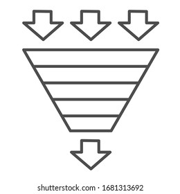 Bottleneck chart thin line icon. Consumption pyramid, funnel diagram symbol, outline style pictogram on white background. Benchmarking sign for mobile concept and web design. Vector graphics