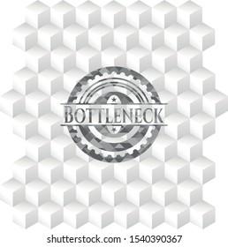 Bottleneck realistic grey emblem with cube white background