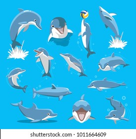 Bottlenose Dolphin Ball Cute Cartoon Vector Illustration