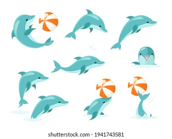 Bottlenose Dolphin Performing Tricks Set of Illustrations. Cute blue dolphins set, dolphin jumping