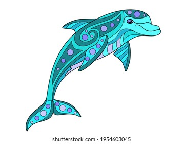Bottle-nosed dolphin - vector linear color zentangle illustration. Jumping Dolphin - multicolored stained glass or batik. Picture for printing on glass and other transparent materials. Sea mosaic