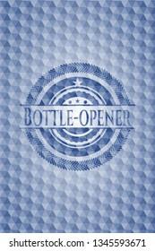 Bottle-opener blue emblem or badge with geometric pattern background.