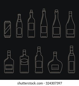 Bottles of alcoholic beverages thin line icons.
