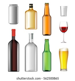 Bottles with alcoholic drinks isolated on white background. Stock vector illustration
