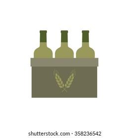bottles of beer. pack of beer icon. vector illustration