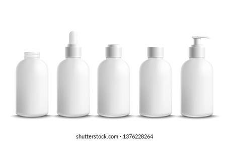 Bottles and containers for cream and body lotion mockup set vector illustration isolated on white background. Plastic packaging for cosmetic with dispensers and caps.