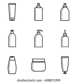 Bottles with cosmetics vector lineart icon set Isolated on white background