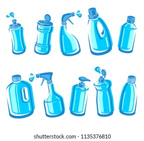 Bottles detergent set. Collection label and icons. Vector