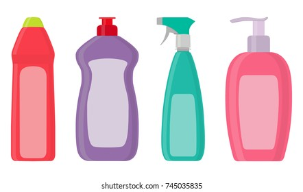 The bottles of detergent, washing powder, detergent powder, bottle of spray, a means for washing dishes. A simple illustration in the flat style, isolated on white background