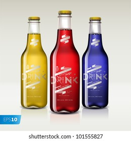 Bottles with different drinks, isolated on white background, vector eps 10 illustration.