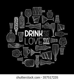 Bottles and glasses illustration for bars, pubs and restaurants. Creative decoration for parties, flyers, brochures, t-shirts. Chalk board style.