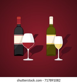 Bottles and glasses of red and white wine.