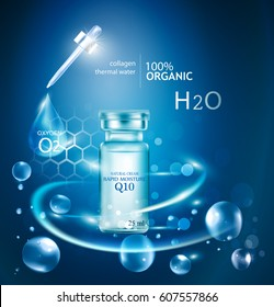 Bottles of hyaluronic cosmetics promotional packaging design
