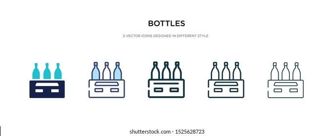 bottles icon in different style vector illustration. two colored and black bottles vector icons designed in filled, outline, line and stroke style can be used for web, mobile, ui