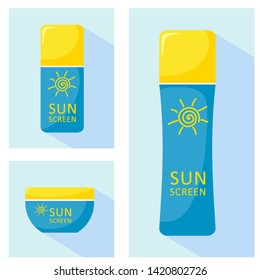 Bottles icons with sunscreen. Vector isolates on a white background in the style of flat, great for web design.