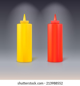 Bottles of ketchup and mustard. Isolated on colored background