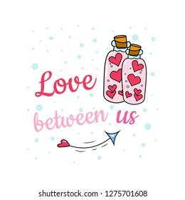 Bottles of love potion. Background. Wallpaper.