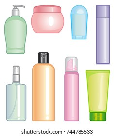 Bottles for means on care a body and hair