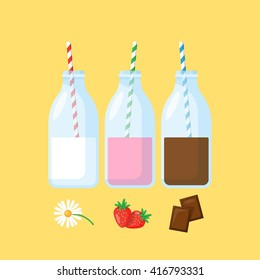 Bottles with milk, strawberry milk and chocolate milk. Flat modern icons of milk for graphic and web design.
