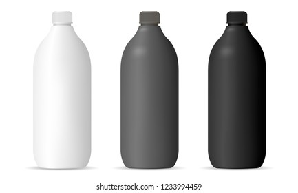 Bottles mockup set for cosmetic or household products. Cylinder Packaging containers in matte black, white or gray color plastic for shampoo, gel, lotion, hair and body products, chemistry.
