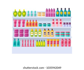 Lot of bottles on shelves vector illustration with different shape pink green and blue vials with cosmetic stuff on bright rack isolated on white