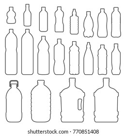 Bottles outline icon set. Small and large bottles to store liquids such as water, soft drinks, motor oil, medicine, milk. Vector line art illustration isolated on white background