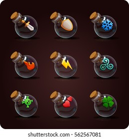 Bottles of potion. Game icon of magic elixir. Vector design for app user interface