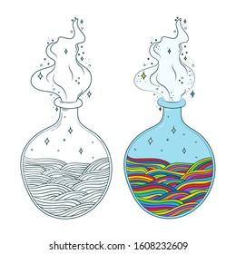 Bottles of potion. Multicolor waves in bottle. Vector illustration. Coloring page