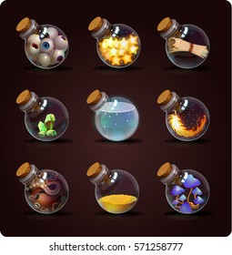 Bottles of potion and objects. Game icon of magic elixir. Vector design for app user interface. Eyes, stars, scroll, crystal, feather, octopus, sand, mushrooms