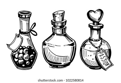 Bottles with potions. Poison and love potion. Hand drawn illustration converted to vector.