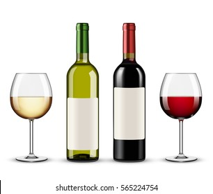bottles of red and white wine and glasses wine isolated on white background