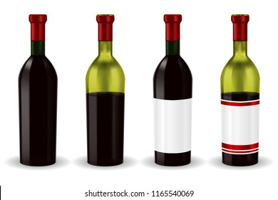 Bottles of red wine. Collection. Vector 3d illustration isolated on white background