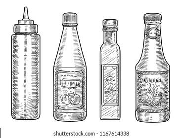 Bottles of sauce illustration, drawing, engraving, ink, line art, vector