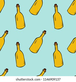 Bottles seamless pattern. hand drawn illustration. Bright cartoon illustration for card design, fabric and wallpaper.