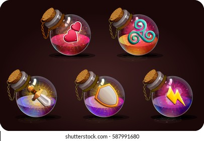Bottles set  with magic potion. Game icon of magic elixir. Vector design for app user interface. Attack, defense, love, sword, shield, heart, air