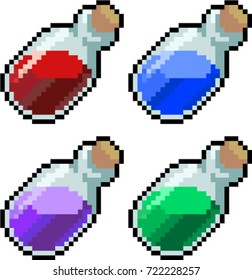 Bottles set of magic potions for game, hp, blue, elixir, rejuvenation icon 8 bit