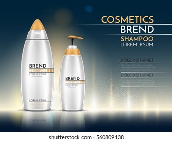 Bottles of shampoo and shower gel. Cosmetic set for design on a blue and yellow background. Vector illustration