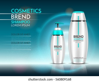 Bottles of shampoo and shower gel. Cosmetic set for design on a turquoise background. Vector illustration